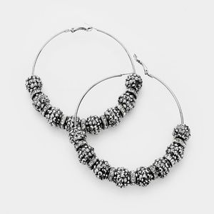 Jewelry - Hematite Black Shamballa Disco Beads Hoop Earrings
